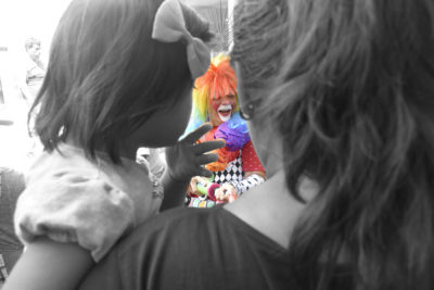 David took very creative photos of the clowns while escorting them around the hospital.